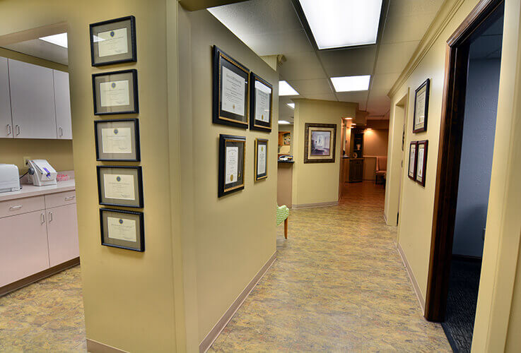 Hallway outside of dental treatment rooms