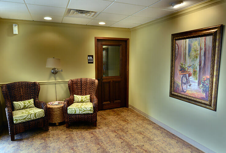 Warm comfortable patient waiting area